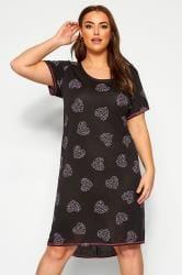 Nachthemd met hartjesprint en lange achterkant in zwart