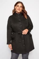Black High Collar Jersey Coat