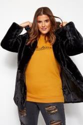 Black Hooded Faux Fur Jacket
