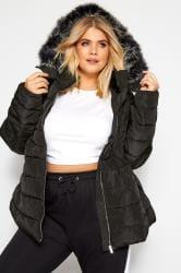 Gewatteerde jas met imitatiebont in zwart