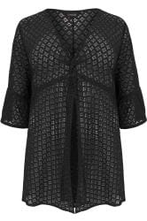 Black Lace Twist Front Cover Up
