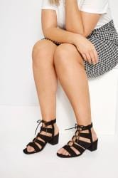 Black Lace Up Heeled Sandals In Extra Wide Fit