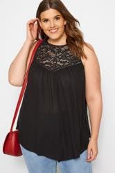Black Lace Vest Top