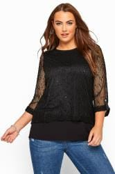 Black Layered Crochet Top