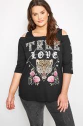 Black Leopard Cold Shoulder Top