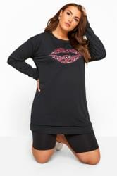 Black Leopard Lip Print Sweatshirt