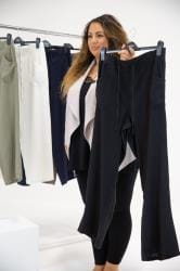 Black Linen Mix Wide Leg Trousers
