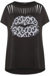 Black Lips Print Laser Cut Top