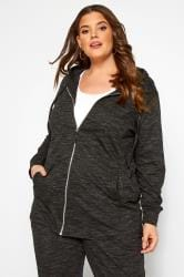 Black Marl Zip Through Hoodie