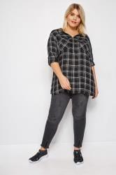 Black & Metallic Zip Through Check Shirt