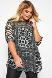Black Mixed Animal Print Boyfriend Shirt