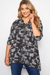 Black Mono Crosshatch Zip Neck Jersey Top