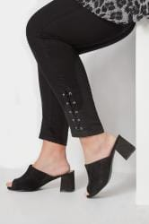 Black Mule Heeled Sandals In EEE Fit
