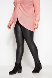 Black PU Leather Look Leggings