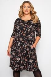 Black Paisley Drape Pocket Dress