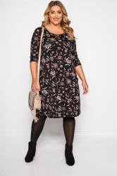 Black Paisley Drape Pocket Dress