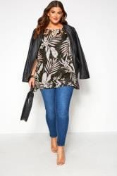 Black Palm Print Burnout Cape Top