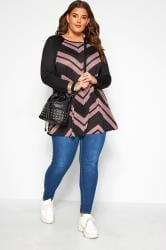 Black & Pink Chevron Print Longline Top