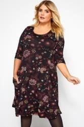 Black & Pink Floral Drape Pocket Dress