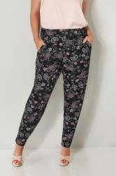 Black & Pink Floral Print Jersey Harem Trousers