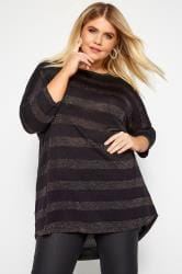 Black & Rainbow Metallic Stripe Knitted Top