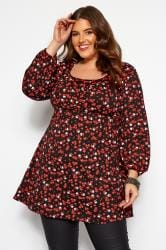 Black & Red Daisy Floral Balloon Sleeve Tunic