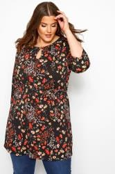 Black & Red Floral Belted Tunic