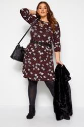 Black & Red Floral Spot Swing Dress