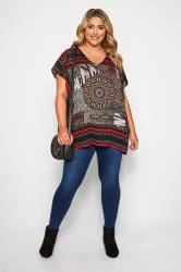 Black & Red Mixed Print Top