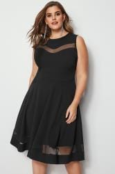 Black Scuba Skater Dress