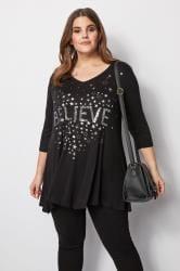 Black Sequin Embellished Top