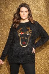 Black Sequin Reindeer Christmas Jumper