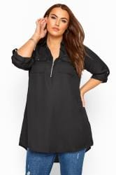 Black Shirt With Zip Front