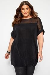 Black & Silver Textured Sparkle Chiffon Top