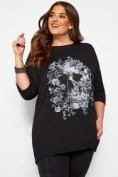 Black Skull Print Top