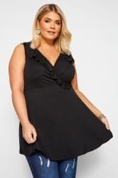 Black Sleeveless Frill Wrap Top