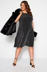 Black Sparkle Swing Dress