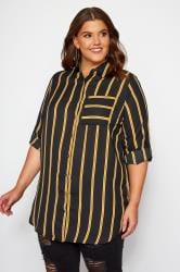 Black & Mustard Striped Oversized Boyfriend Shirt