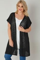 Black Textured Cardigan With Grown-On Short Sleeves