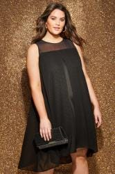 Black Textured Glitter Layered Dress