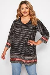 Black Tile Print Ribbed Neck Tunic