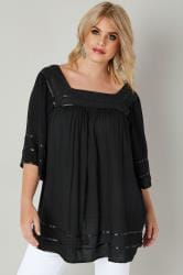 Black Tipped Blouse With Crochet Neckline