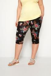Black Tropical Floral Cropped Harem Trousers
