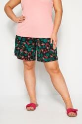 Black Tropical Floral Jersey Shorts