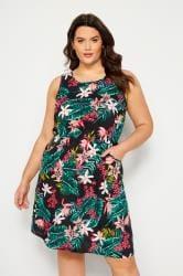Black Tropical Floral Pocket Skater Dress