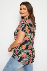 Black Tropical Stripe Mock Pocket T-Shirt