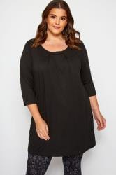 Black Tunic With Pleated Front