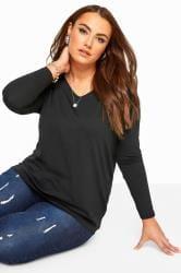Black V-Neck Long Sleeve Top