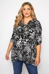 Black & White Animal Print Zip Top