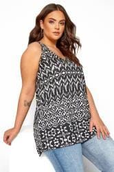 Black & White Aztec Print Cross Back Vest Top